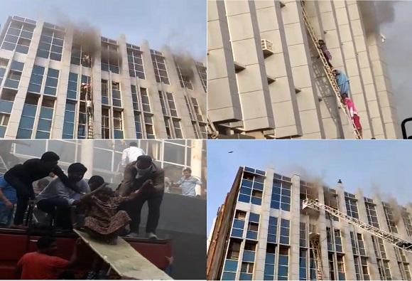 , अंधेरीतील कामगार हॉस्पिटलला भीषण आग, काचा फोडून रुग्णांना बाहेर काढलं