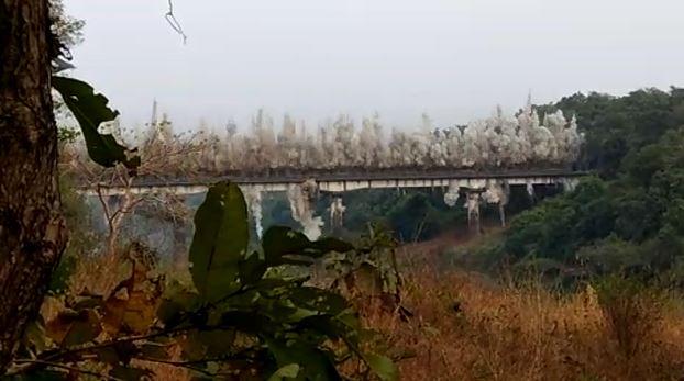 Shahapur bridge demolition, VIDEO : काही सेकंदांचा अवधी, पूल जमीनदोस्त