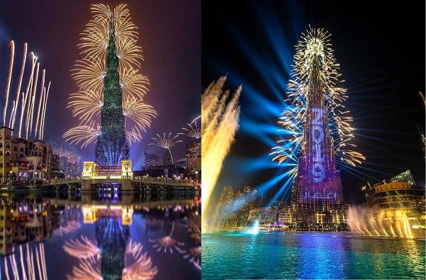 नववर्षाच्या स्वागतासाठी 'बुर्ज खलिफा'वर विद्युत रोषणाई