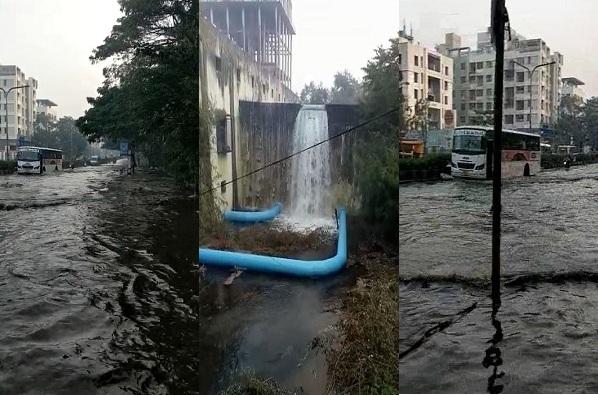 वॉल्व्हमध्ये बिघाड, पुण्यातल्या रस्त्यावर गुडघाभर पाणी