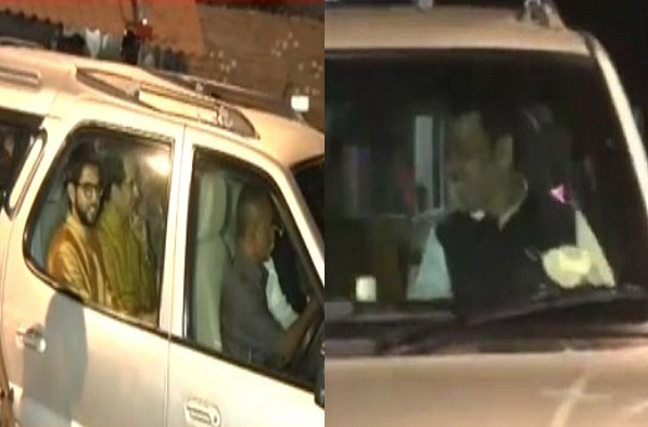 अमित शाह आणि ठाकरे पिता-पुत्र एकाच गाडीतून 'मातोश्री'च्या बाहेर