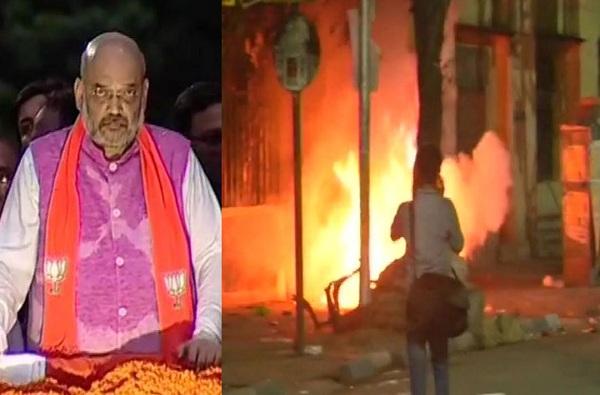 कोलकात्यात अमित शाहांच्या रोड शोमध्ये हिंसाचार