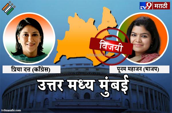 Mumbai North Central Lok sabha election result live 2019 : Mumbai North Central Poonam Mahajan vs Priya Dutt, Mumbai North central Lok sabha Result 2019 : उत्तर मध्य मुंबई लोकसभा मतदारसंघ निकाल