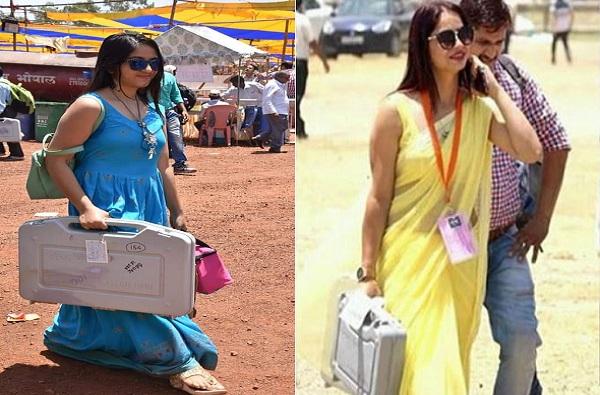 पिवळ्या साडीतील महिला अधिकाऱ्यानंतर आता निळ्या ड्रेसमधील अधिकाऱ्याचे फोटो व्हायरल
